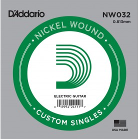 D'Addario Nickel Wound Electric Single String NW032