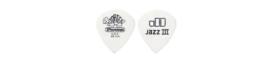 Púas Dunlop Tortex White Jazz III, Púas para Jazz, Púas Tortex